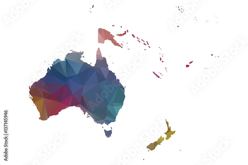 low poly oceania map Poster