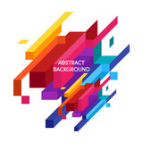 Abstract colorful geometric isometric background vector illustration - 137147510