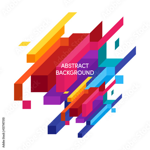 Poster Abstract colorful geometric isometric background vector illustration