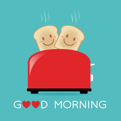 Happy couple toasted breads and toaster vector. Cute cartoon character illustration.