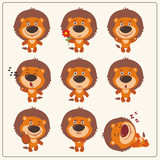 Funny little lion set in different poses. Collection isolated lion in cartoon style.