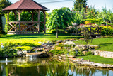 Fototapety beautiful landscaping with beautiful plants and flowers