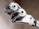 Robot Hand with Gearwheels Automation Concept 3d Illustration