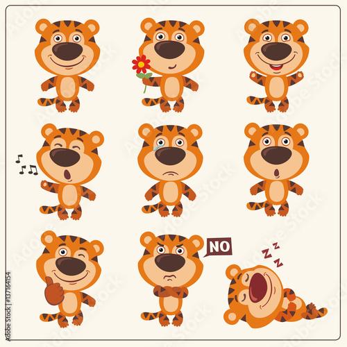 Śmieszny mały tygrys ustawiający w różnych pozach. Kolekcja na białym tle tygrys w stylu cartoon.