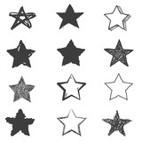 Fototapety Set of cute hand drawn star. Doodle style sketching. Vector illustration.