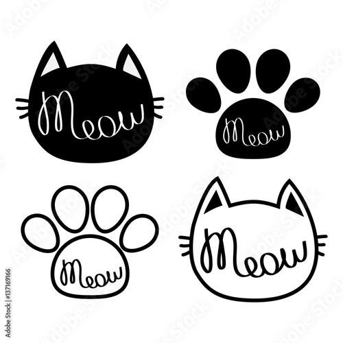 Black Cat Head Meow Lettering Contour Text Paw Print Cute Cartoon