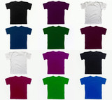 Multicolored t-shirts isolated on white background