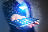 Concept of sending email on smartphone interface with message icon around
