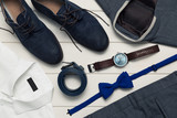 collection of men's fashion clothes and accessories. top view - 137179586
