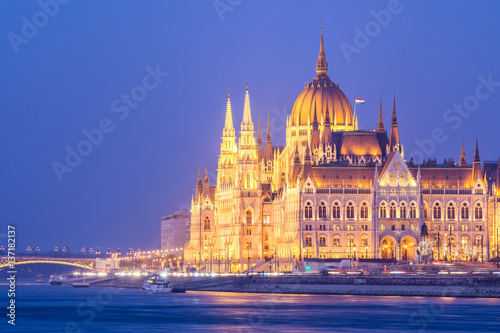 riverside views to budapest parliament at sundown, hungary