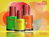 Colorful nail lacquer template, glossy bottles on the sparkling effects background.