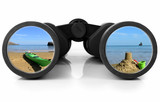 Binoculars Reflecting beach