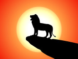 Vector black silhouette snarling lion on a rock