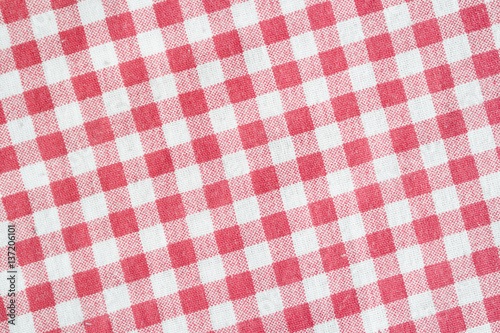 Red and white checkered picnic tablecloth. Poster