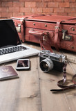 vintage camera and vintage tone, prepare accessories and travel items