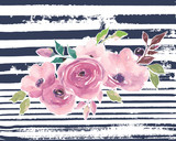 Watercolor bouquet. Painted flowers on striped background