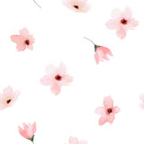 Watercolor seamless pattern. Painted flowers design
