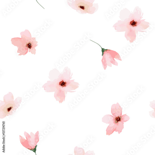 Watercolor seamless pattern. Painted flowers design - 137214761