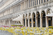 Empty cafe tables and chairs in San Marco Square, Venice, Veneto, Italy, Europe