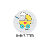 Babysitter Stroller Child Cart Icon Vector Illustration