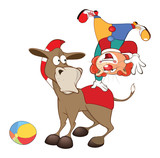 Illustration of a Cute Cat Clown and a Donkey. Cartoon Character