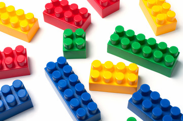 Building blocks - plastic construction toy isolated on white background