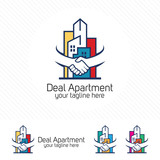 Property deal logo design vector. Real estate or apartment trading concept with hand shake symbol .
