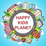 Kids round frame with happy city