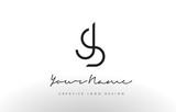 JS Letters Logo Design Slim. Creative Simple Black Letter Concept. - 137240113