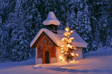 Illuminated Christmas tree in front of a chapel in winter, Bavaria, Upper Bavaria, Germany, Europe - 137246713