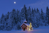 Illuminated Christmas tree in front of a chapel in winter, Bavaria, Upper Bavaria, Germany, Europe - 137246741