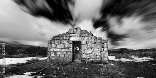 Ghost Town stone building in the Nevada Desert in Black and White Poster