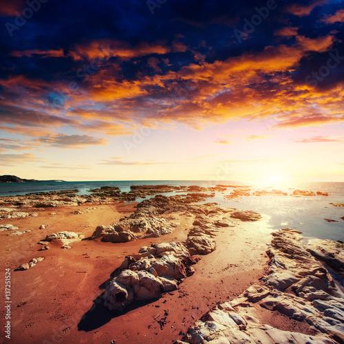 Foto op Aluminium Strand Fantastic view of the nature reserve Monte Cofano. Dramatic scen