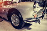 Beautiful retro silver car at the show Some