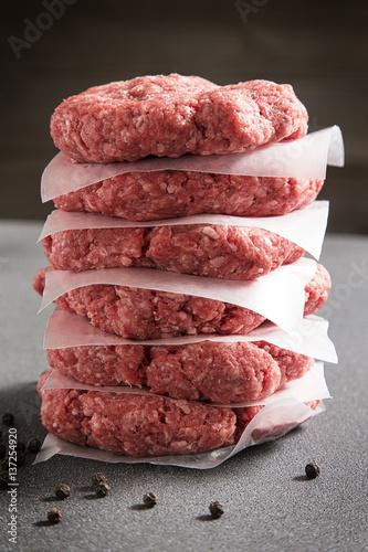 Poster Stack of Six Raw Hamburgers