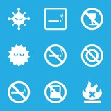Set of 9 prohibition filled icons
