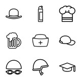 Set of 9 cap outline icons