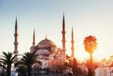 Illuminated Sultan Ahmed Mosque before sunrise