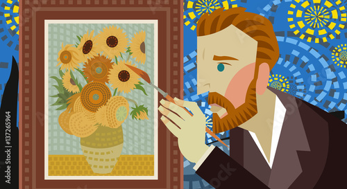 Fototapeta impressionist painter painting sunflowers on a starry night