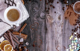 Grey wooden background with black coffee