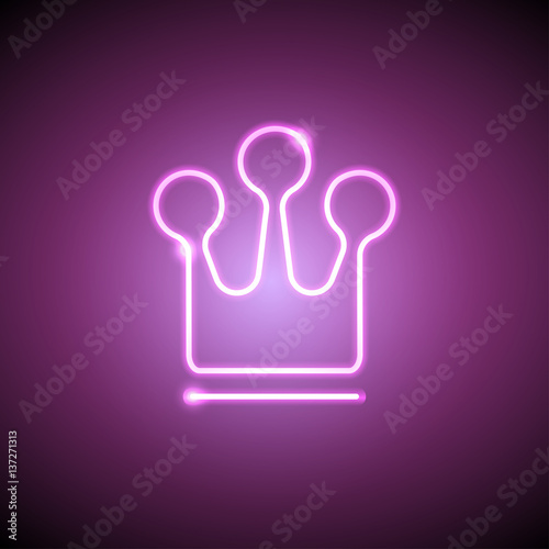 Neon crown Vector illustration Neon bright lamp in the shape of a crown Realistic style