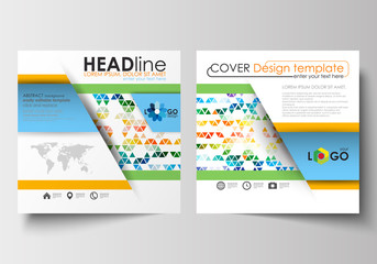 Business templates for square design brochure, magazine, flyer, booklet, report. Leaflet cover, flat layout, easy editable blank. Abstract triangles, triangular background, colorful polygonal vector.