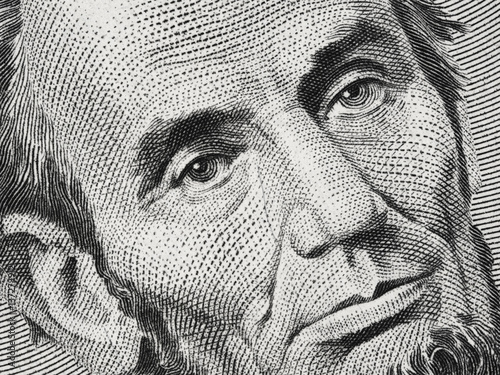 Poster US President Abraham Abe Lincoln on USA five dollar bill extreme macro, 5 usd, U