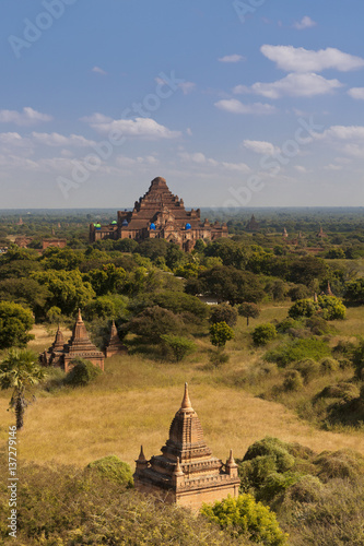 Image of ancient temples in Bagan Myanmar on a sunny day blue sky Poster