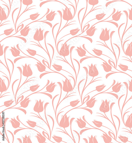 Fototapeta Tulips floral seamless pattern.