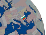 Bulgaria with flag on globe