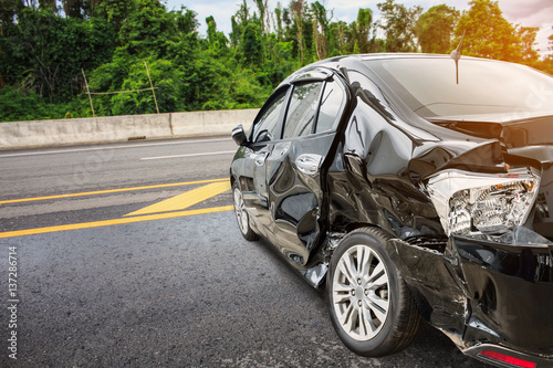 Wall mural car crash accident on the road