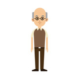 old man cartoon icon over white background. colorful design. vector illustration