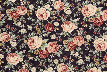 Cotton fabric in vintage roses pattern for background or texture