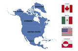 north america map and flags